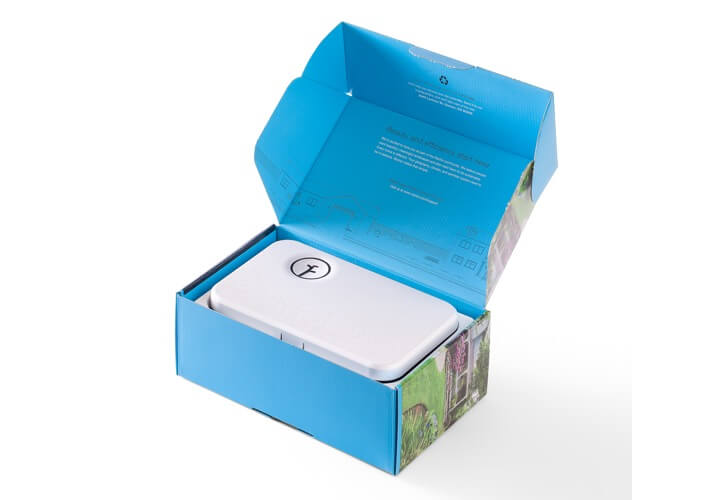 Rachio Generation 2 controller, inside open box.