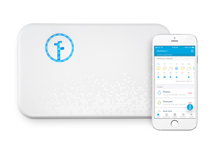 Rachio Generation 2 controller, with mobile device.